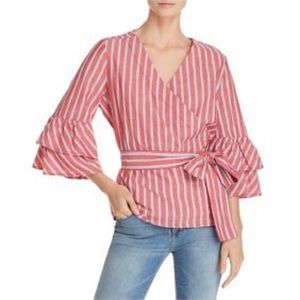 beachlunchlounge | Striped Ruffle Tie Front Shirt
